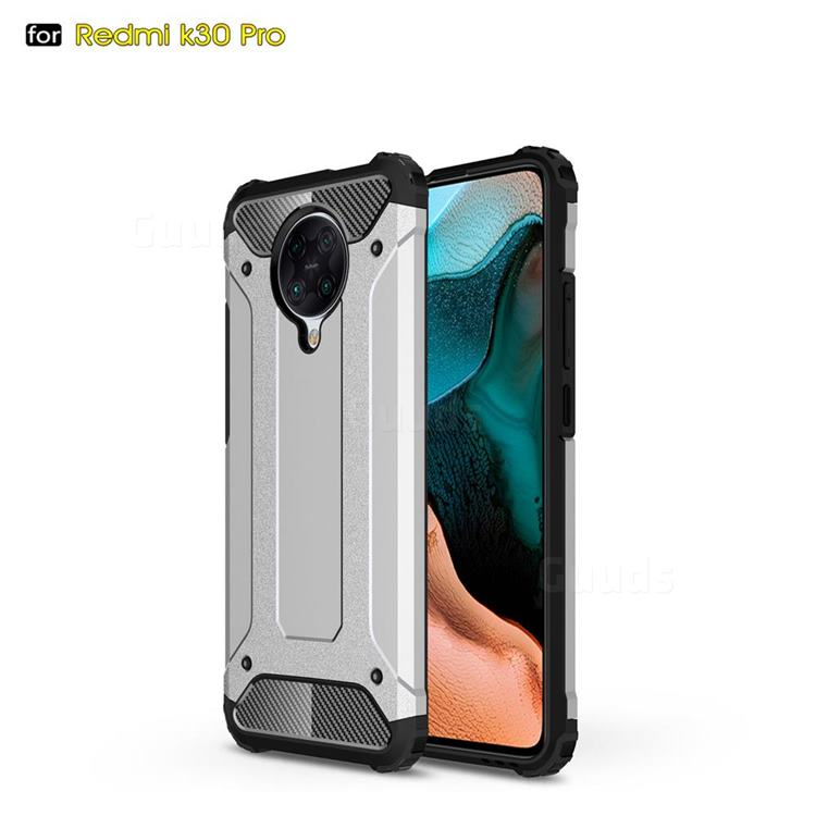 King Kong Armor Premium Shockproof Dual Layer Rugged Hard Cover for Xiaomi Redmi K30 Pro - White