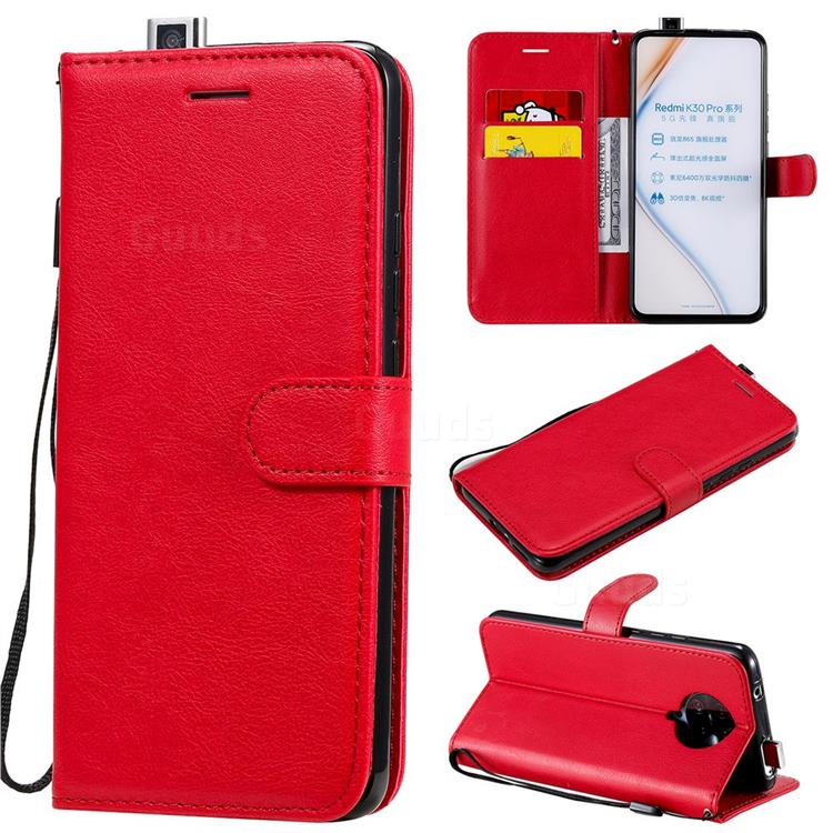 Retro Greek Classic Smooth PU Leather Wallet Phone Case for Xiaomi Redmi K30 Pro - Red