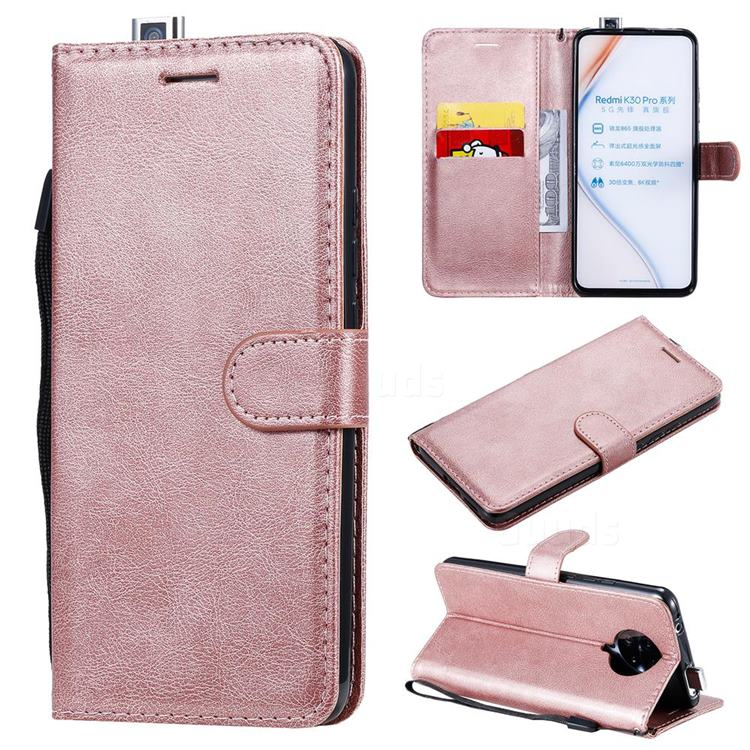 Retro Greek Classic Smooth PU Leather Wallet Phone Case for Xiaomi Redmi K30 Pro - Rose Gold