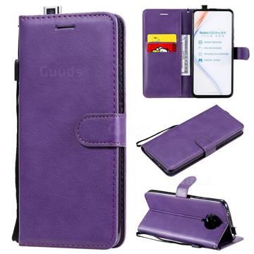 Retro Greek Classic Smooth PU Leather Wallet Phone Case for Xiaomi Redmi K30 Pro - Purple