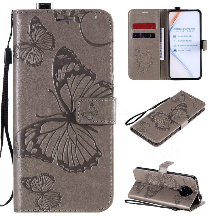 Embossing 3D Butterfly Leather Wallet Case for Xiaomi Redmi K30 Pro - Gray