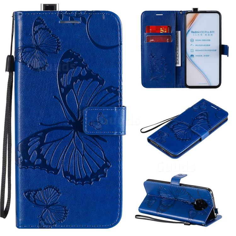 Embossing 3D Butterfly Leather Wallet Case for Xiaomi Redmi K30 Pro - Blue