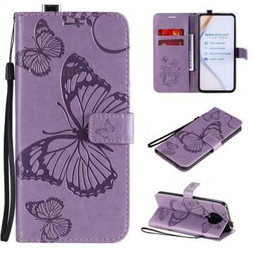 Embossing 3D Butterfly Leather Wallet Case for Xiaomi Redmi K30 Pro - Purple