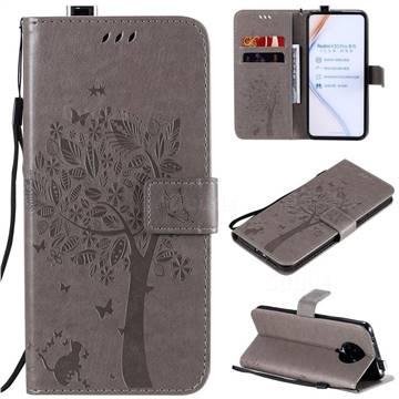 Embossing Butterfly Tree Leather Wallet Case for Xiaomi Redmi K30 Pro - Grey