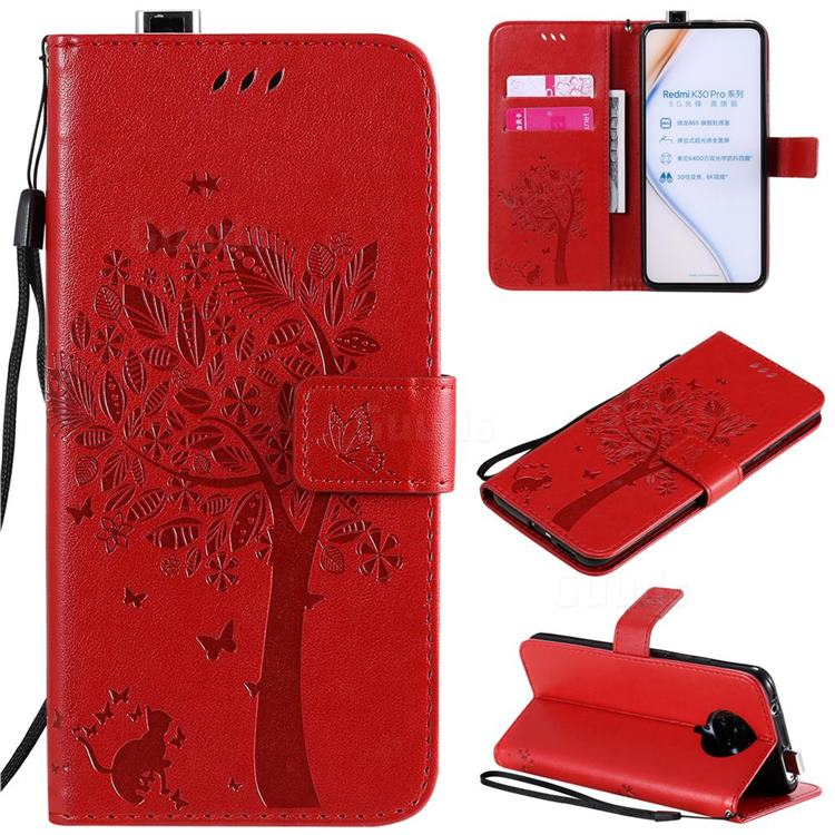 Embossing Butterfly Tree Leather Wallet Case for Xiaomi Redmi K30 Pro - Red