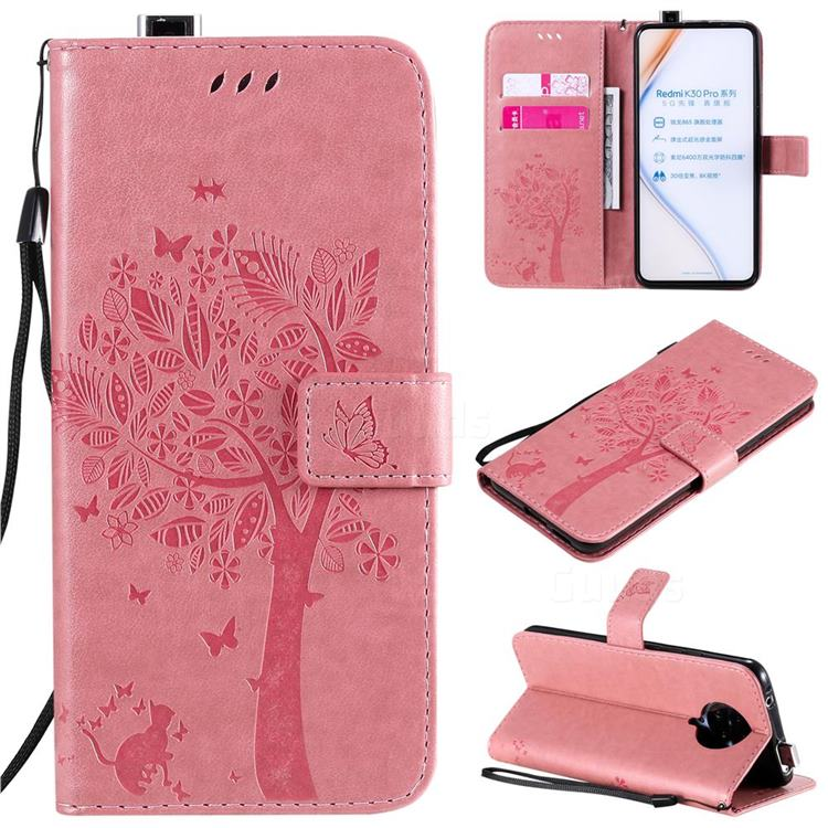 Embossing Butterfly Tree Leather Wallet Case for Xiaomi Redmi K30 Pro - Pink