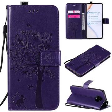 Embossing Butterfly Tree Leather Wallet Case for Xiaomi Redmi K30 Pro - Purple