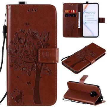 Embossing Butterfly Tree Leather Wallet Case for Xiaomi Redmi K30 Pro - Coffee