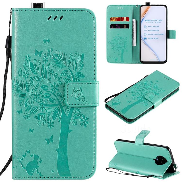 Embossing Butterfly Tree Leather Wallet Case for Xiaomi Redmi K30 Pro - Cyan