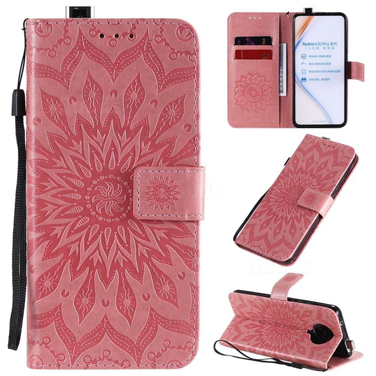 Embossing Sunflower Leather Wallet Case for Xiaomi Redmi K30 Pro - Pink