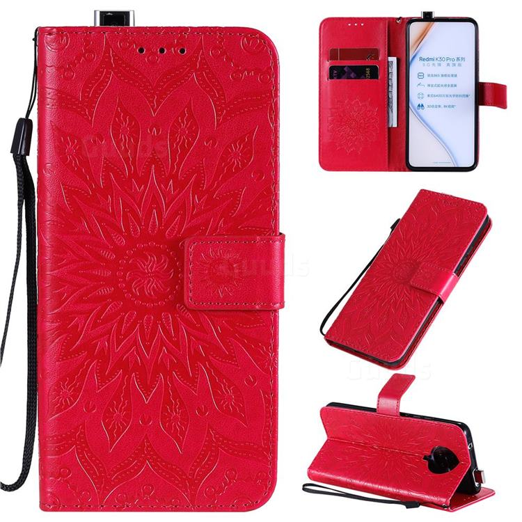 Embossing Sunflower Leather Wallet Case for Xiaomi Redmi K30 Pro - Red