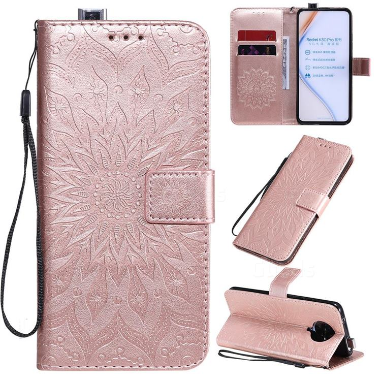 Embossing Sunflower Leather Wallet Case for Xiaomi Redmi K30 Pro - Rose Gold