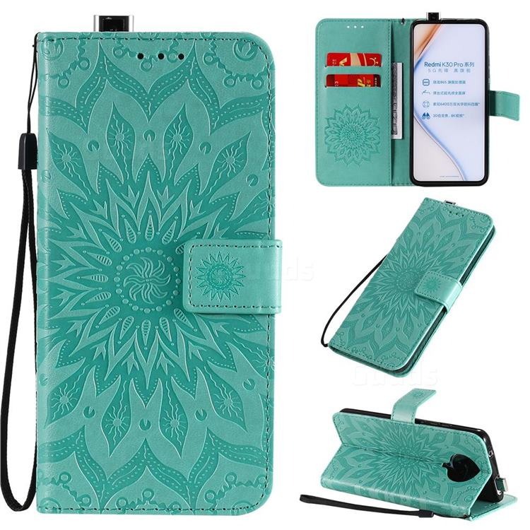 Embossing Sunflower Leather Wallet Case for Xiaomi Redmi K30 Pro - Green