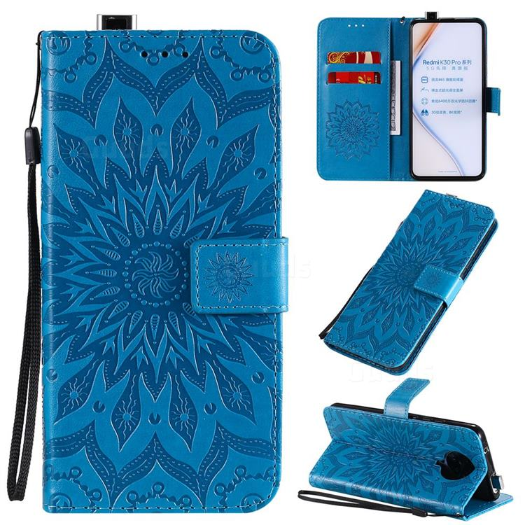 Embossing Sunflower Leather Wallet Case for Xiaomi Redmi K30 Pro - Blue
