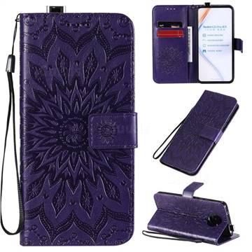 Embossing Sunflower Leather Wallet Case for Xiaomi Redmi K30 Pro - Purple