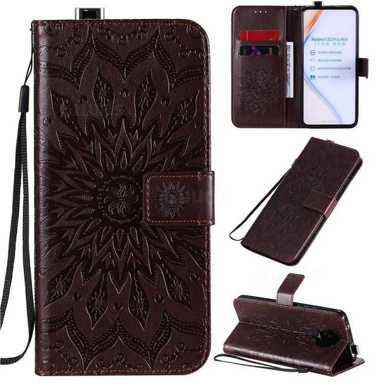 Embossing Sunflower Leather Wallet Case for Xiaomi Redmi K30 Pro - Brown