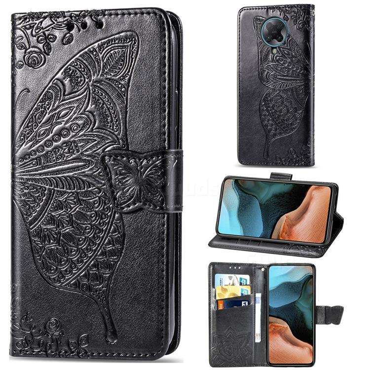 Embossing Mandala Flower Butterfly Leather Wallet Case for Xiaomi Redmi K30 Pro - Black