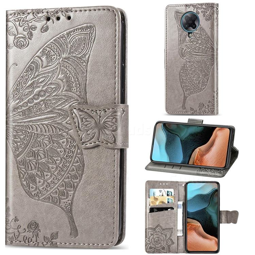 Embossing Mandala Flower Butterfly Leather Wallet Case for Xiaomi Redmi K30 Pro - Gray