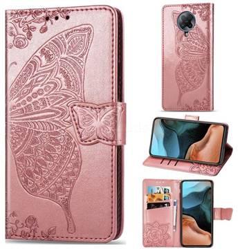 Embossing Mandala Flower Butterfly Leather Wallet Case for Xiaomi Redmi K30 Pro - Rose Gold
