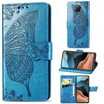 Embossing Mandala Flower Butterfly Leather Wallet Case for Xiaomi Redmi K30 Pro - Blue