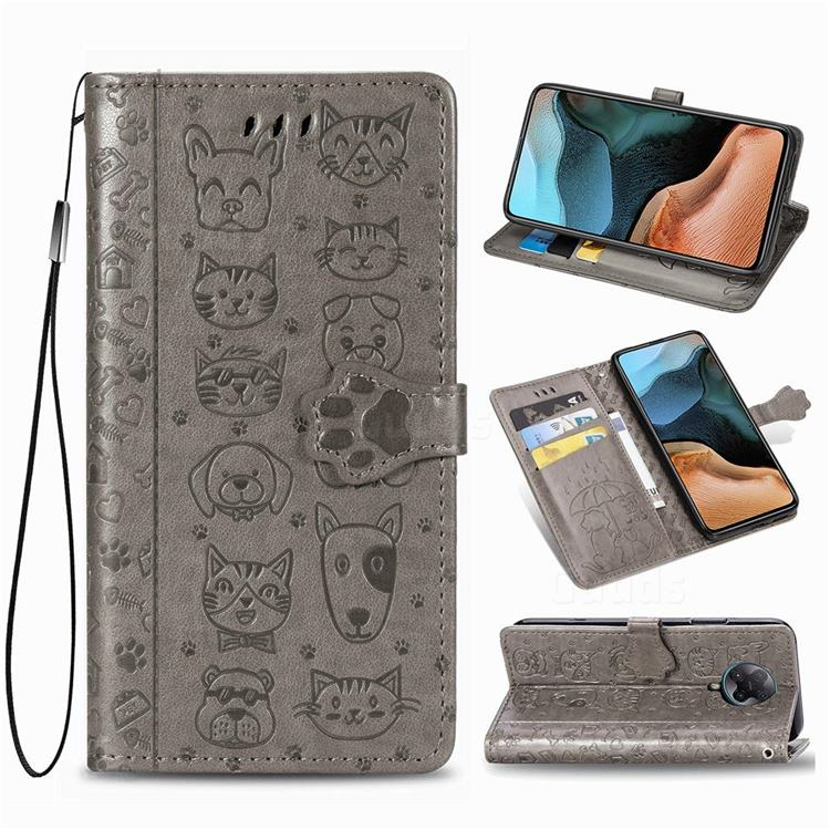 Embossing Dog Paw Kitten and Puppy Leather Wallet Case for Xiaomi Redmi K30 Pro - Gray