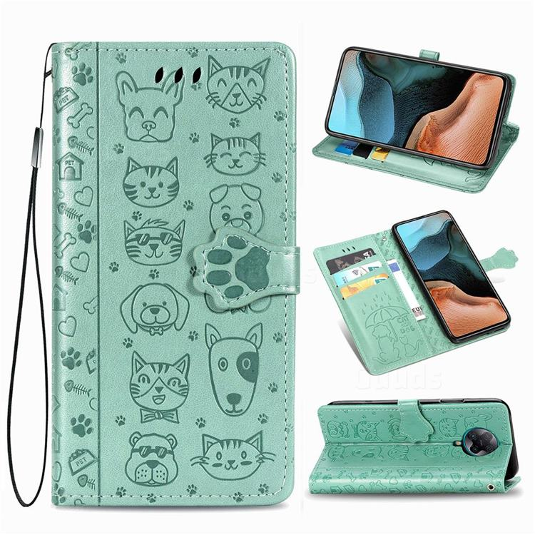 Embossing Dog Paw Kitten and Puppy Leather Wallet Case for Xiaomi Redmi K30 Pro - Green
