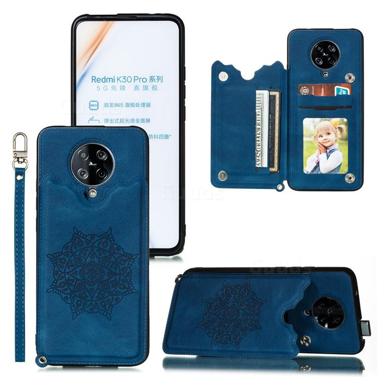 Luxury Mandala Multi-function Magnetic Card Slots Stand Leather Back Cover for Xiaomi Redmi K30 Pro - Blue