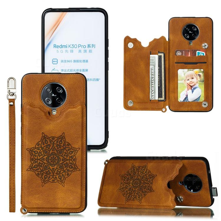 Luxury Mandala Multi-function Magnetic Card Slots Stand Leather Back Cover for Xiaomi Redmi K30 Pro - Brown