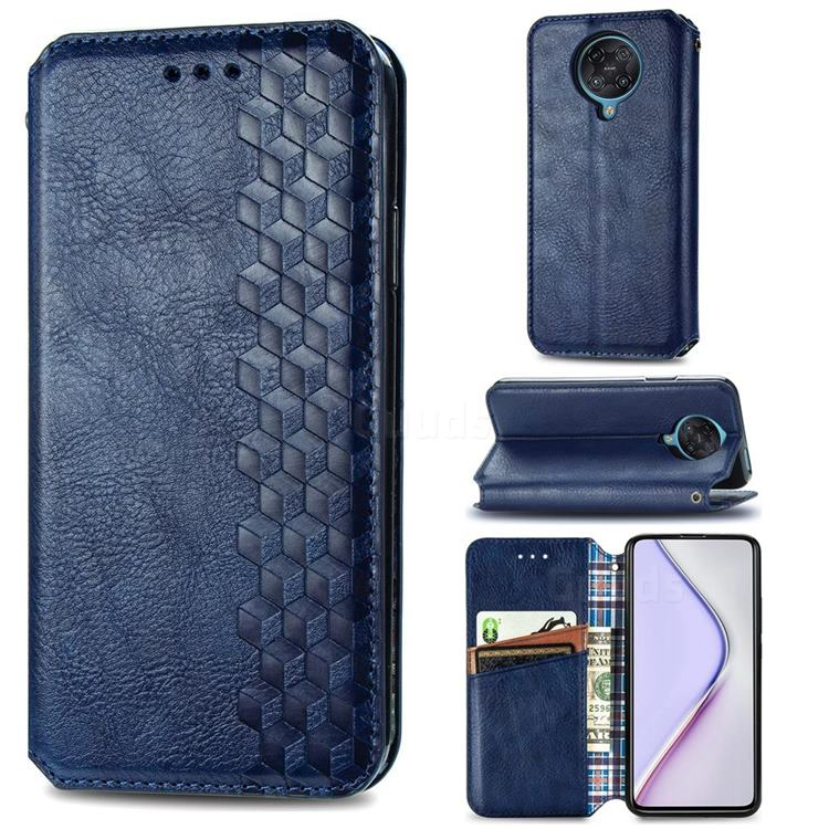 Ultra Slim Fashion Business Card Magnetic Automatic Suction Leather Flip Cover for Xiaomi Redmi K30 Pro - Dark Blue