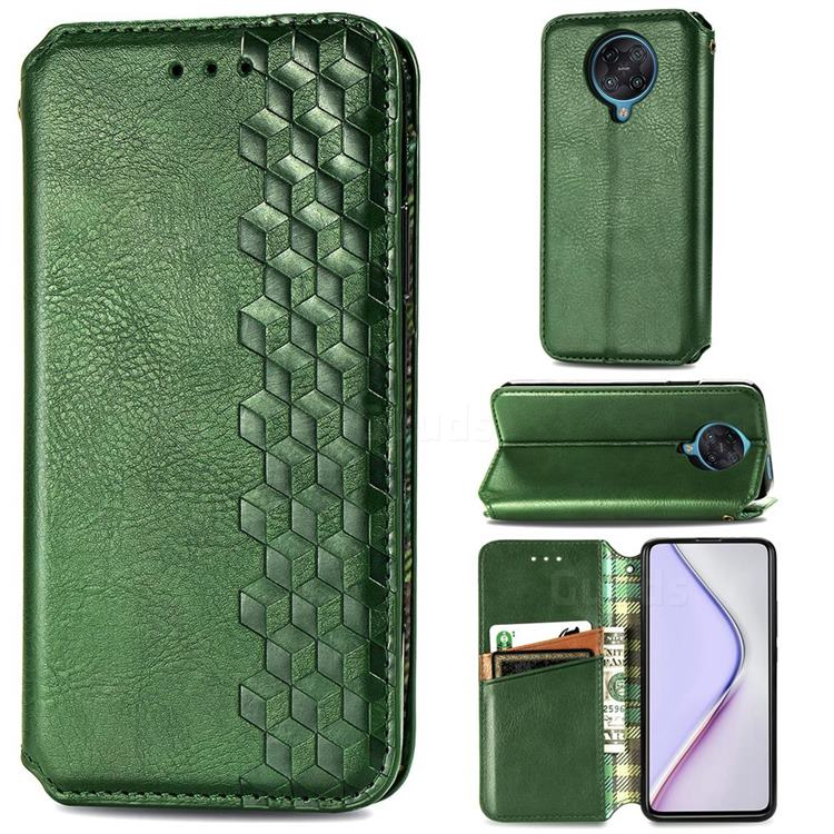 Ultra Slim Fashion Business Card Magnetic Automatic Suction Leather Flip Cover for Xiaomi Redmi K30 Pro - Green
