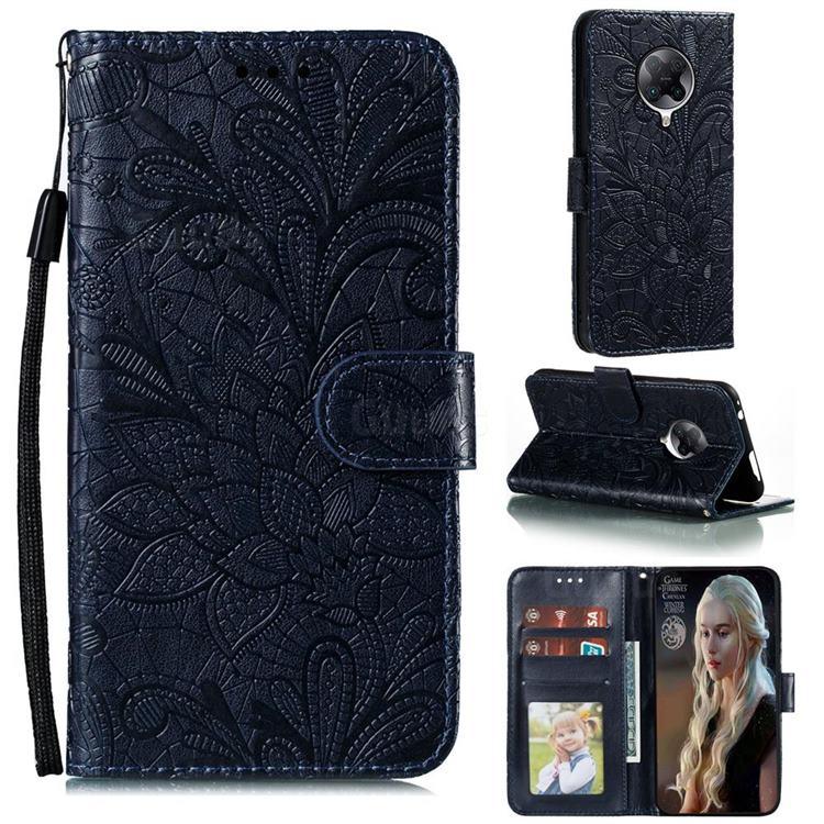 Intricate Embossing Lace Jasmine Flower Leather Wallet Case for Xiaomi Redmi K30 Pro - Dark Blue