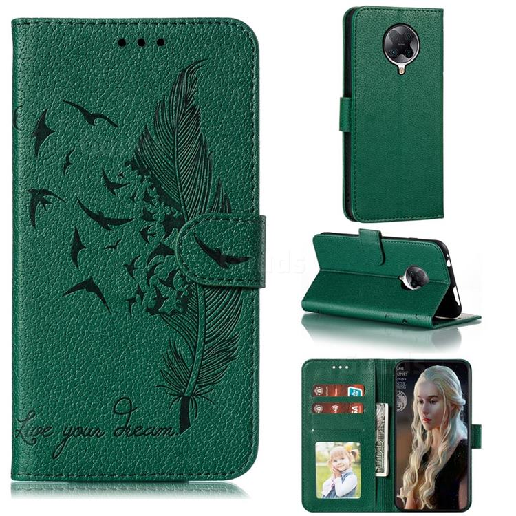 Intricate Embossing Lychee Feather Bird Leather Wallet Case for Xiaomi Redmi K30 Pro - Green