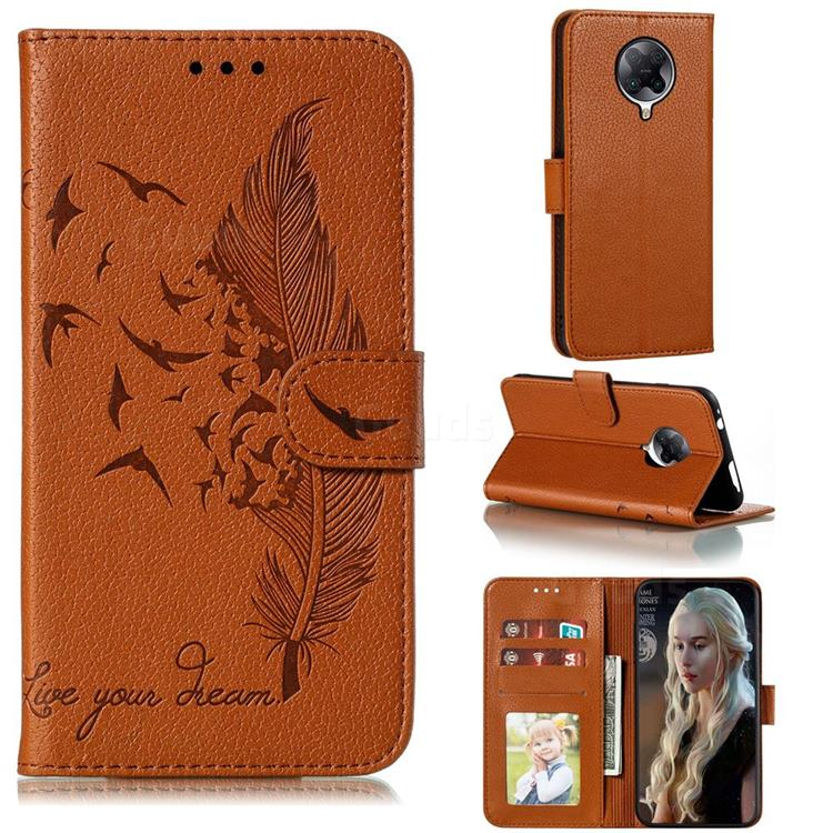 Intricate Embossing Lychee Feather Bird Leather Wallet Case for Xiaomi Redmi K30 Pro - Brown