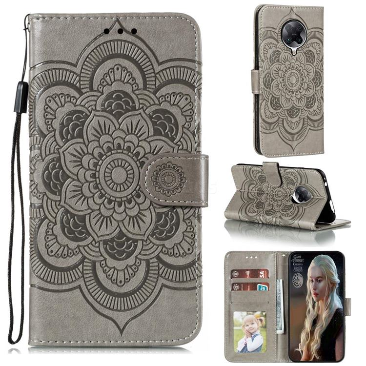 Intricate Embossing Datura Solar Leather Wallet Case for Xiaomi Redmi K30 Pro - Gray
