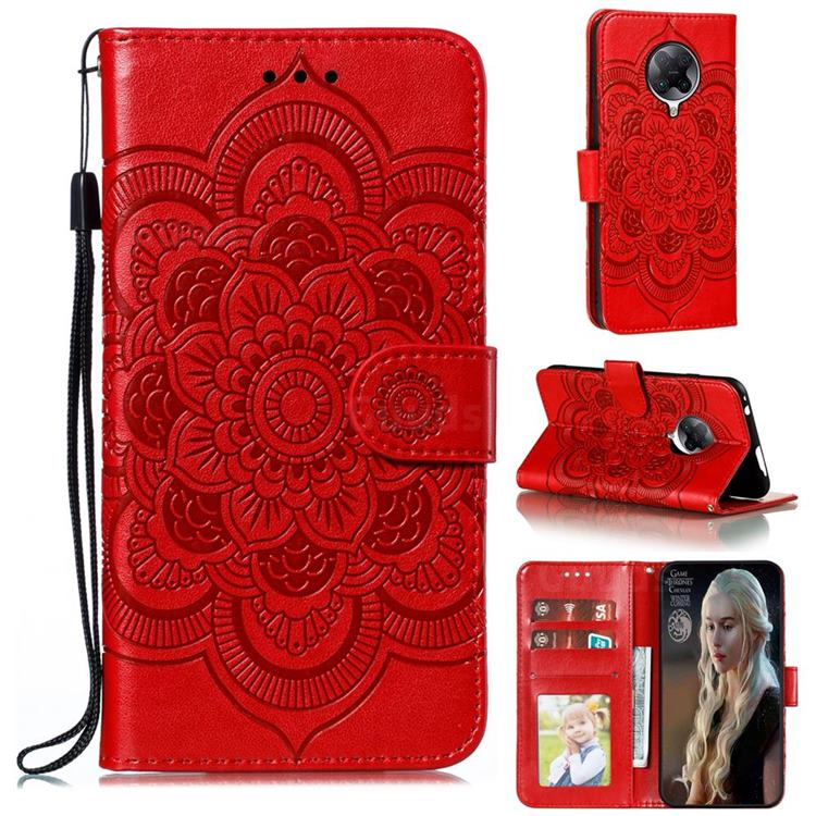 Intricate Embossing Datura Solar Leather Wallet Case for Xiaomi Redmi K30 Pro - Red