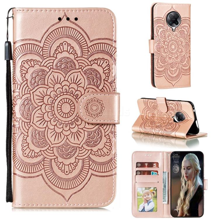 Intricate Embossing Datura Solar Leather Wallet Case for Xiaomi Redmi K30 Pro - Rose Gold