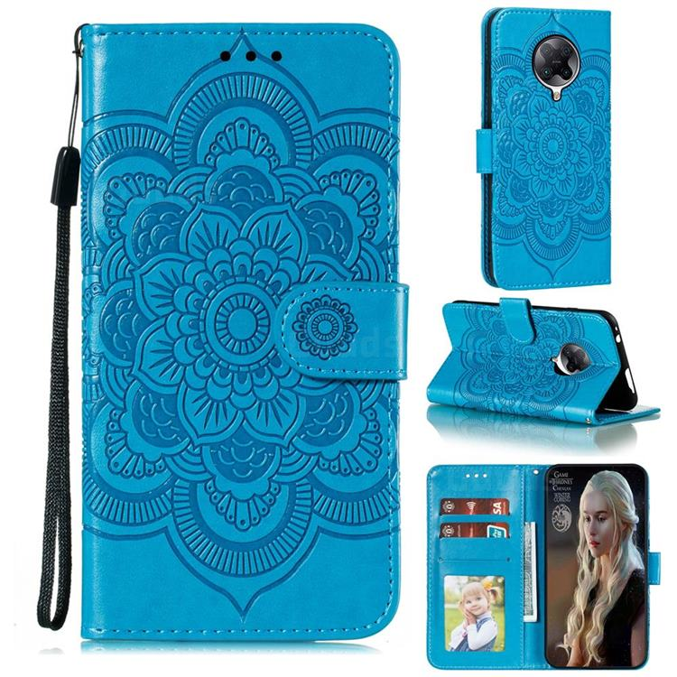 Intricate Embossing Datura Solar Leather Wallet Case for Xiaomi Redmi K30 Pro - Blue