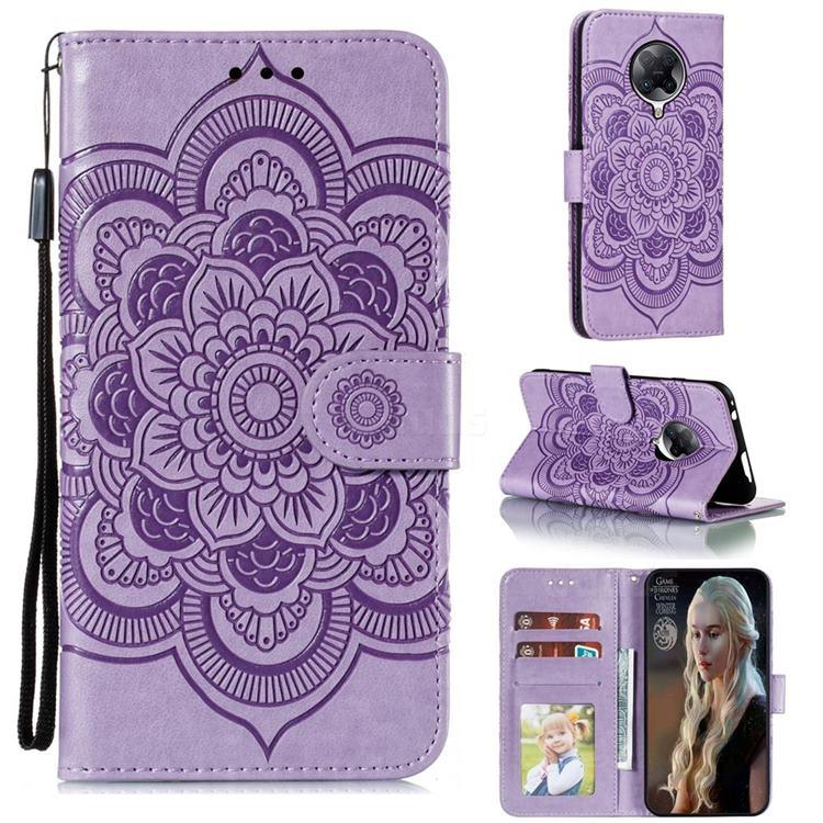 Intricate Embossing Datura Solar Leather Wallet Case for Xiaomi Redmi K30 Pro - Purple