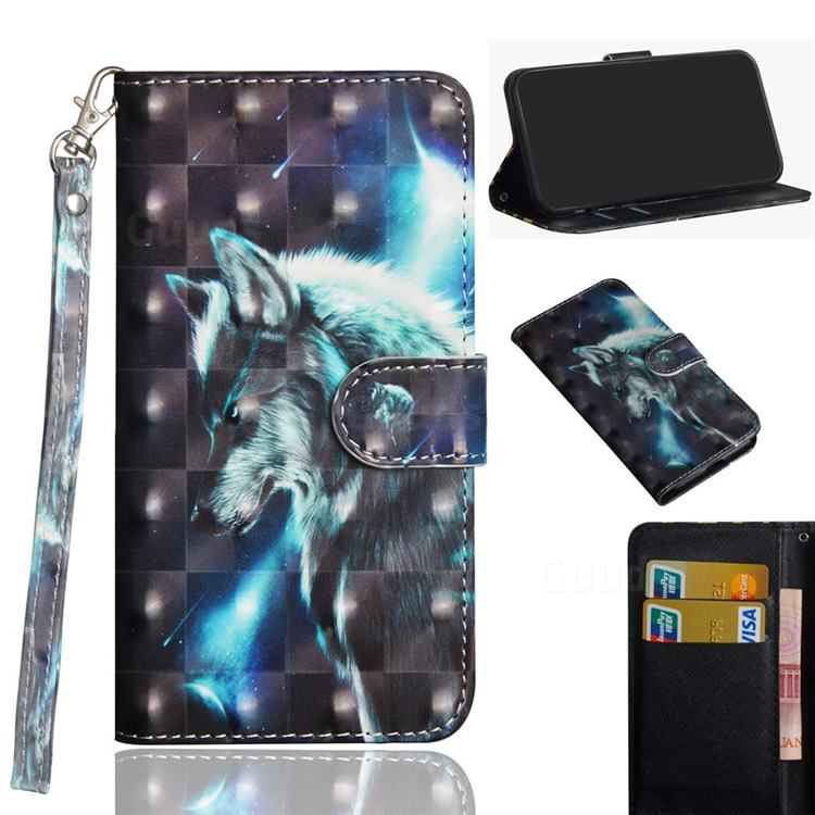 Snow Wolf 3D Painted Leather Wallet Case for Xiaomi Redmi K30 Pro