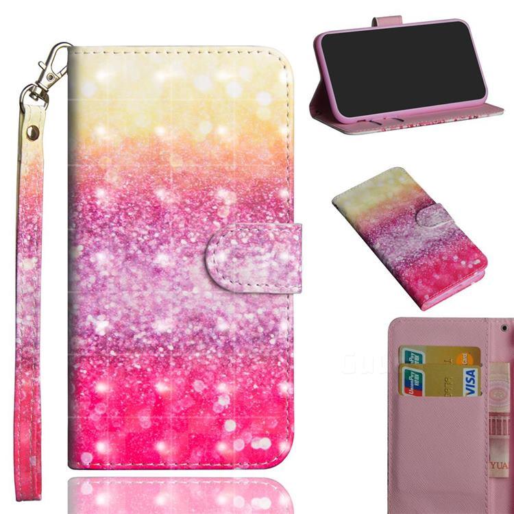 Gradient Rainbow 3D Painted Leather Wallet Case for Xiaomi Redmi K30 Pro