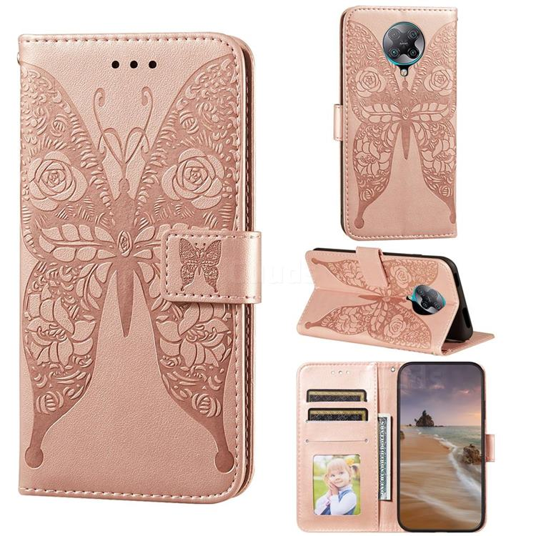 Intricate Embossing Rose Flower Butterfly Leather Wallet Case for Xiaomi Redmi K30 Pro - Rose Gold
