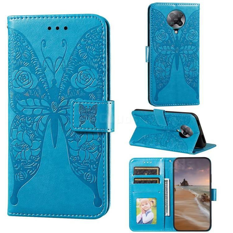 Intricate Embossing Rose Flower Butterfly Leather Wallet Case for Xiaomi Redmi K30 Pro - Blue