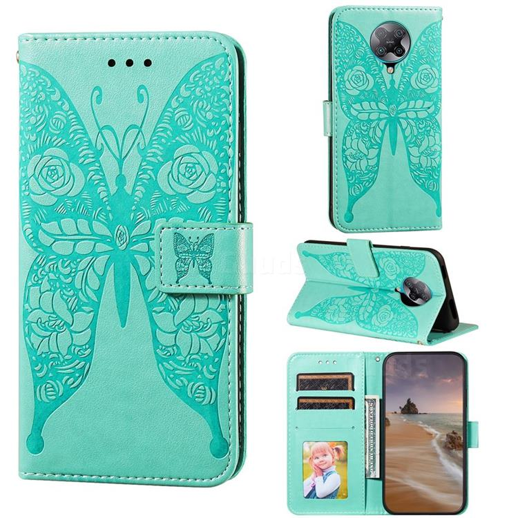 Intricate Embossing Rose Flower Butterfly Leather Wallet Case for Xiaomi Redmi K30 Pro - Green