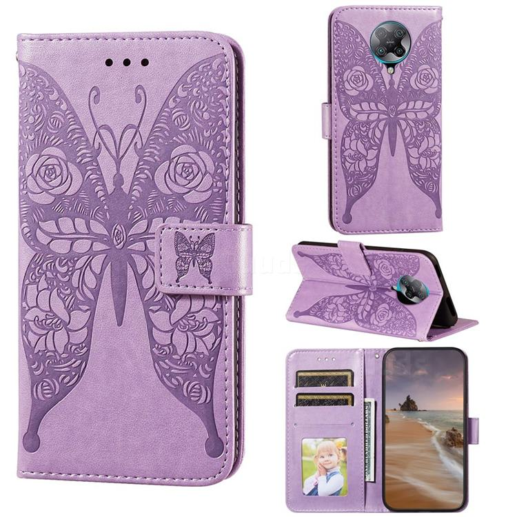 Intricate Embossing Rose Flower Butterfly Leather Wallet Case for Xiaomi Redmi K30 Pro - Purple