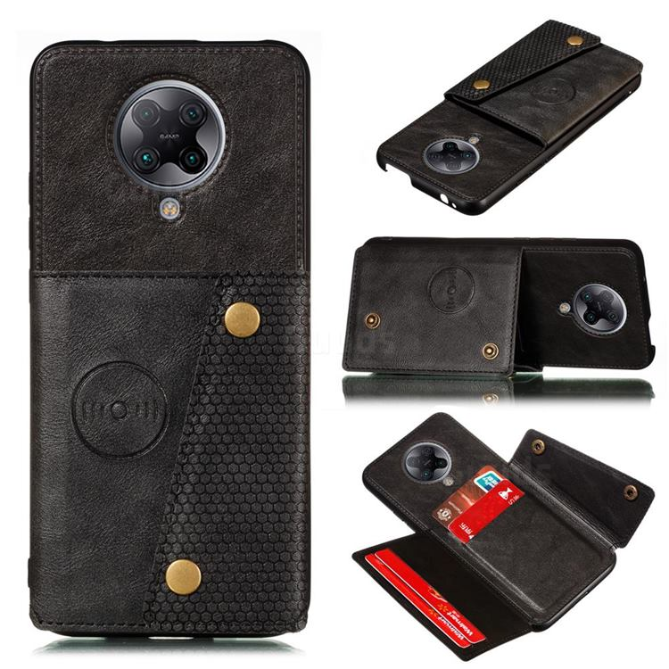 Retro Multifunction Card Slots Stand Leather Coated Phone Back Cover for Xiaomi Redmi K30 Pro - Black