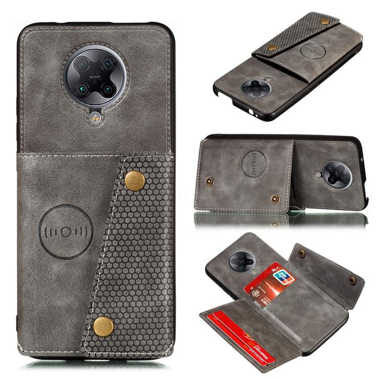 Retro Multifunction Card Slots Stand Leather Coated Phone Back Cover for Xiaomi Redmi K30 Pro - Gray