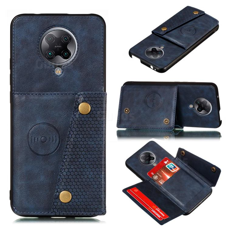 Retro Multifunction Card Slots Stand Leather Coated Phone Back Cover for Xiaomi Redmi K30 Pro - Blue