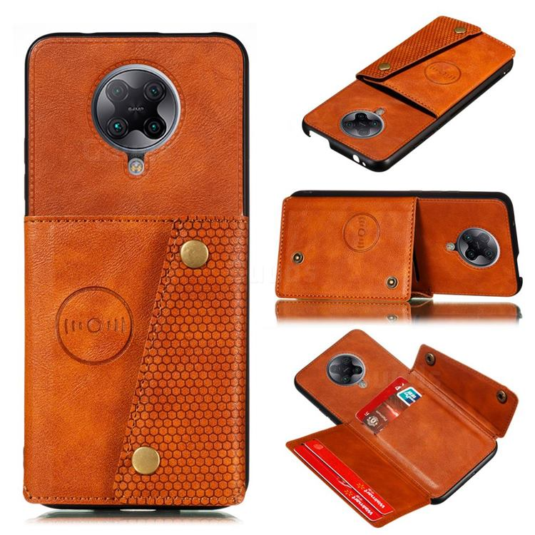 Retro Multifunction Card Slots Stand Leather Coated Phone Back Cover for Xiaomi Redmi K30 Pro - Brown