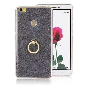 Luxury Soft TPU Glitter Back Ring Cover with 360 Rotate Finger Holder Buckle for Xiaomi Mi Max - Black