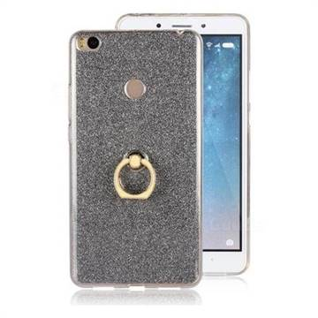 Luxury Soft TPU Glitter Back Ring Cover with 360 Rotate Finger Holder Buckle for Xiaomi Mi Max 2 - Black